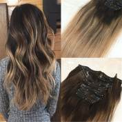 HairDancing 50cm 120g 9Pcs Stropez Balayage Ombre Clip in Human Hair Extensions Colour #2 Fading to Colour #27 and Colour #30 Hair Clip in Extensions Full Head Clip in Extensions