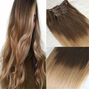 HairDancing 46cm 120gram 7Pcs Balayage Clip in Hair Extensions Colour #5 Dark Medium Brown Fading to Colour #27 Strawberry Blonde Ombre Balayage Human Hair Full Head Clip on Hair Extensions