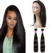 360 Lace Frontal Closure with Bundles Brazilian Straight Virgin Hair Weave 2 Bundles with 360 Lace Closure Human Hair Extensions Natural Black