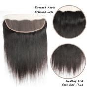 FeiBin Hair 33cm x 10cm Brazilian Straight Lace Closure Bleached Knots Natural Colour 100% Virgin Human Hair Closure Free Part Lace Closure