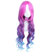AOGSY Long Curly Annie Wig Red and Blue Hair Cosplay 100CM LOL Arcade Miss