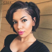 Cici Collection Glueless 20cm 150% Density Short Hair Full Lace Human Hair Wig Brazilian Hair Bob Wigs With Bangs for Black Women With Baby Hair Short Straight Natural Colour