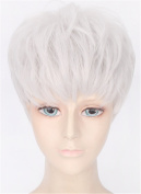 OYSRONG New 30cm Handsome Silver Short Straight Soft Touch Cosplay Lace Cap Wig For Men