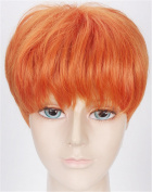 OYSRONG New 30cm Handsome Orange Short Straight Soft Touch Cosplay Lace Cap Wig For Men