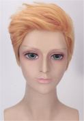 OYSRONG Trump Styling Handsome Golden Short Curly Soft Touch Cosplay Lace Cap Wig For Men