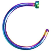 20g Multi-colour Rainbow Titanium Anodized Over Surgical Steel Nose Ring Hoop Body Piercing 20 Gauge 1cm Length By Eg Gifts