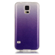 Moonmini Gradient Colour Sparkling Glitter Ultra Slim Fit Soft TPU Phone Back Case Cover for  for  for Samsung   Galaxy S5 i9600 - Purple