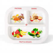 Healthy Habits Divided Kids Portion Plate, 3 Fun & Balanced Sections for Picky Eaters