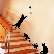 Saingace® Cats Butterfly Wall Stickers Art Decals Mural Wallpaper Decor Home DIY