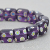 50 Czech Glass Pressed Square beads (6mm or 1/4 inch) Purple Transparent Matte with Vitrail Dots. One hole. Jewellery Making, Beading