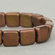 50 Czech Pressed Square bead (7mm) Brown Bronze Opaque Matte. One hole. Jewellery Making, Beading