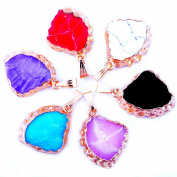 6pcs Resin Imitation Stone Fan Shape Pendant Crystal Druzy Drusy Irregular Geode Agate Gold Plated Pendant for Necklaces Jewellery Making