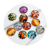 """Best Wing """"20mm Butterfly Wing Printed"""" Round Circle Glass Dome Seals Cabochon Flat Back"""