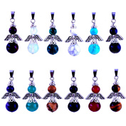 12pcs Gems Angles Healing Pointed Chakra Rock Beads Pendants Round Ball Handmade Quartz Crystal Stone Beads Pendant for Necklace Jewellery Making