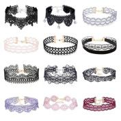 Tpocean 12 Pieces Choker Necklace Tattoo Necklace Colourful Lace Choker Set