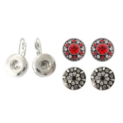 """Chunk Snap Charm Earrings for Mini Petite Snaps 12mm (1/2"""" Diameter) Includes Two Pairs 12mm Earrings - Bundle of 3 Items"""