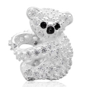 Koala Charm Genuine 925 Sterling Silver Zircon Stone Bead for European Brand Bracelet Jewellery