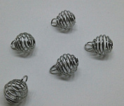 Spiral Bead Cages Pendants Findings 8mm Dia.Jewellery DIY Finding Pack of 100Pcs