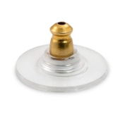 R2K 20-Pcs Ear Back and Plastic Comfort Disc with Gold Plated Steel Base (10 Pairs) A102