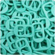 BEADTIN Light Turquoise Green Opaqye 25mm Plastic Soda Pop Tabs