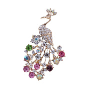 diffstyle Fashion Peacock Rhinestone Brooches for Women Girls Animal Pin Multi Colour Crystals