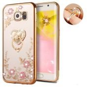 Galaxy Note 5 Floral Crystal TPU Case--Inspirationc Soft Slim Bling Plating Rubber Cover for Samsung Galaxy Note 5 with Rhinestone Diamond and Detachable 360 Ring Stand--Gold and Pink