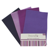 Dovecraft A4 Art + Craft Coloured Felt 8 Sheet Shade Multipack - Purples