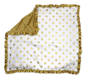 Dear Baby Gear Baby Blankets, Polka Dots Gold on White, Gold Minky