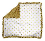 Dear Baby Gear Baby Blankets, Polka Dots Gold on White, Gold Minky
