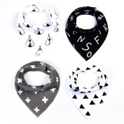 Meidus 4Pcs Baby Bibs Colourful Print Cotton Soft Bandana Saliva Towel Newborn Triangle Scarf NO.5 3334cm