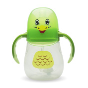 MikaMidori Animal Baby Bottle - Single Pack, Clear, Handle, Owl and Duck themed