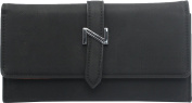 Femina Women's Fashion Soft Suede Material Tri-Fold Clutch Wallet, Black