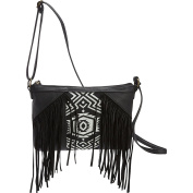 T-shirt & Jeans Fringe Cross Body with Woven Centre Panel