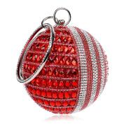Flada Women's Round Shape Purse Rhinestone Ball Clutch Evening Bag