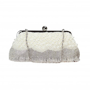 Women Pearl Rhinestone Clutches Evening Bags Wedding Party Handbag Purses with Tassel