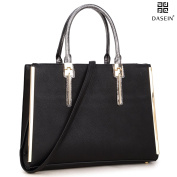 Dasein Women New Satchel Shoulder Bags ipad Bags--Fashion purses with Gold plated Trim on both sides and Snake Skin Rolled Handle