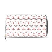 TJDY Red Anchor PU Leather Wallet for Shopping 8.07x4.53