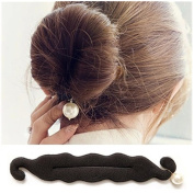 Casualfashion 5PCS Classy Black Colour Cloth Magic Clip French Twist Hairstyle Donut Bun Former Maker Hairstyle Must-haves Tool
