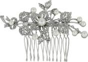 Nina Women's Lagos Crystal Pearl Floral Comb Rhodium/Crystal Hair Clip