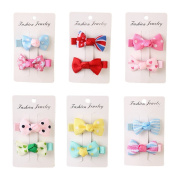 12Pcs 5.1cm Toddler Ribbon Hair Clips Baby Little Girls Boutique Hair Bows Hair Clips Baby Girls Toddlers Kids Barrettes