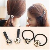 Casualfashion 2Pcs Korean Camellia Flower Hair Ties and 2Pcs Camellia Flower Hair Bangs Clips for Women Girls