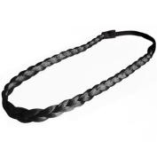 kathy Store INC 1pc Faux Wig Hair Fashion Elastic Stretch Synthetic Hair Braided Headband Hair Band - Black