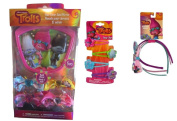 Trolls 4 Snap Clips Barrets, 3pk Headband with Bow, 4 Bows and 1 Mirror Bundle Hair Accessories.