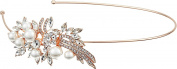 Nina Women's Cai Pearl/Crystal Side Headband Rose Gold Pearl/Crystals Headband