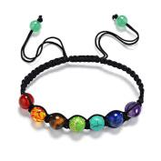 Fheaven 7 Chakra Healing Balance Beads Bracelet ,Yoga Life Energy Bracelet /13 Rainbow Natural Stone Casual Jewellery Lovers Wristlet