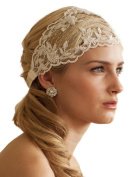Mariell Romantic Handmade Ivory Lace Embroidered Wedding Headband with French Netting & Satin Ribbon