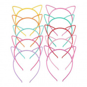 AWAYTR 10Pcs Solid Candy Colour Plastic Cat Ear Tiara Princess Headband Hair band With Teeth Girls Kids Hair Accessories