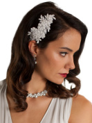Mariell Handmade White Lace Beaded Wedding Bridal Comb Headpiece with Pearls
