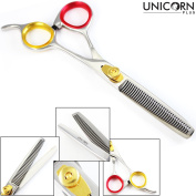 Professional Razor Edge Series - Barber Hair Thinning/Texturizing Scissors/Shears - 17cm Overall Length - CNC Teeth - Chanker scissors - Beautiful golden Chromium Fine Adjustment Tension Screw