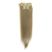 60cm Straight Full Head Clip in Synthetic Hair Extensions 6pcs 160g